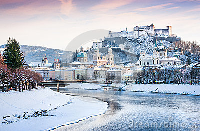 Salzburg skyline with river Salzach in winter, Salzburger Land, Austria