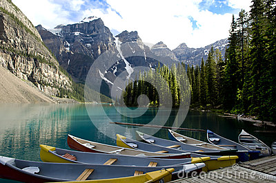 Boats on Moraine Lake, Canada