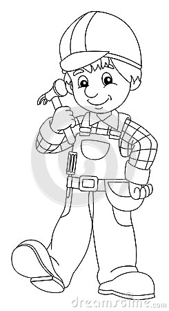Images of Construction Worker Coloring Page - Sabadaphnecottage
