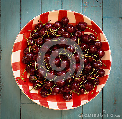 Fresh Cherries in Red Gingham Plate