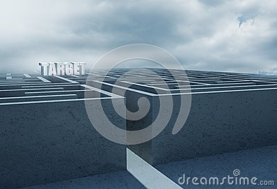 Target set in middle of complicated maze