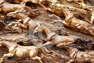 Horse wood carve