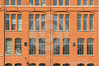 Red brick wall & windows. Industrial landscape. Norrkoping. Sweden