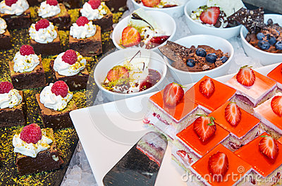 stock image of catering desserts