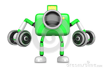 3D Green Camera character a Dumbbell Kick Back Exercise. Create