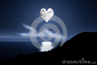 Romantic image with a heartshaped moon