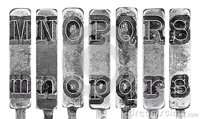 Old Typewriter Typebar Letters M to S Isolated on
