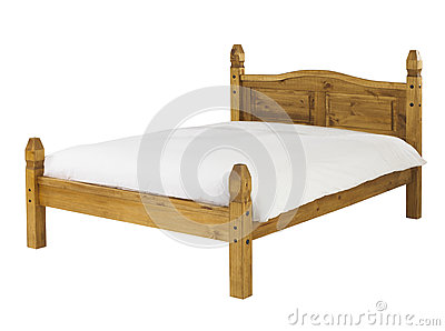 Pine bed isolated on white background