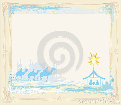 Frame with traditional Christian Christmas Nativity scene