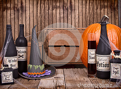 Potion bottles with witches hat