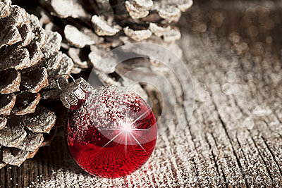 Red Christmas Ornament Pinecones
