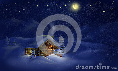 Christmas night landscape - hut, snow, pine trees, Moon and stars