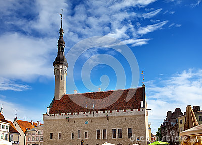 Medieval Town Hall and Town Hall Square of Tallinn, the capital of Estonia.