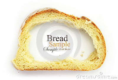 Slice of white bread with center missing, crust as