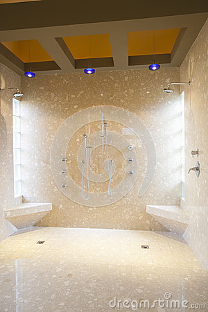 Bathroom With His And Hers Shower Heads