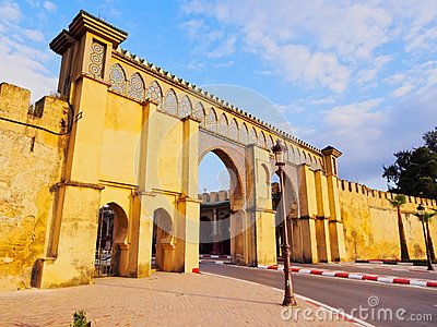 Gate to the Moulay Ismail Mausoleum in Meknes, Morocco