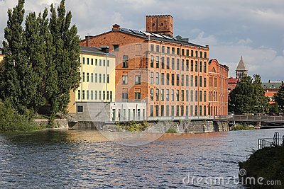 Old red brick factory. Industrial landscape. Norrkoping. Sweden