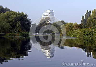 Leicester Space Centre reflected in The River Soar