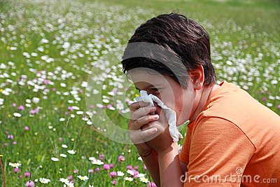 Allergic boy to pollen and flowers