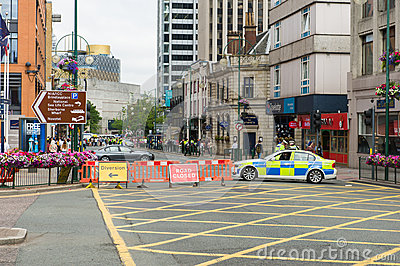 Police barrier at the street
