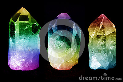 Three quartz crystals