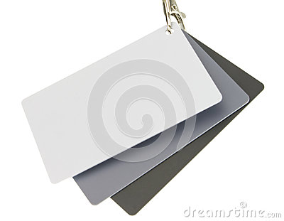 Set of three color reference cards isolated on white