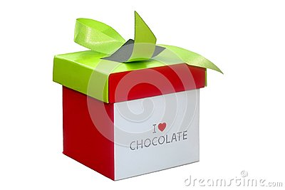 Chocolates box for Mothers Day, birthdays and special events, isolated on white