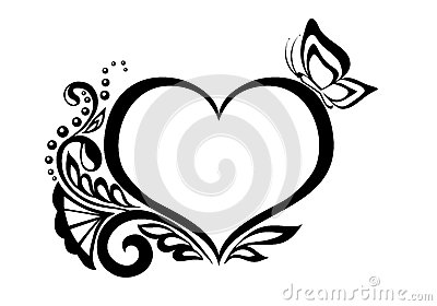Black-and-white symbol of a heart with floral desi