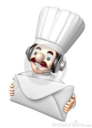3D Chef Mascot holding a large letter