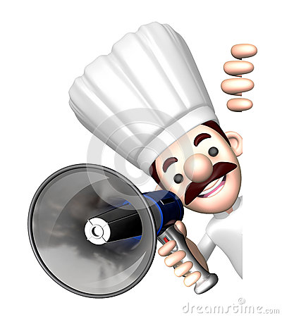 3D Chef Mascot the hand is holding a loudspeaker