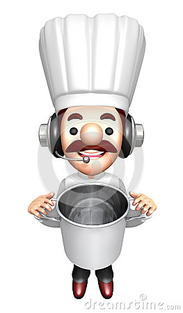 3D Chef Mascot holding a large skillet