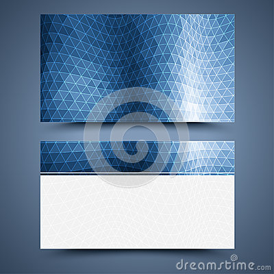 Blue business card template. Abstract background