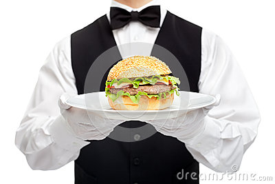 Waiter torso with hamburger on plate