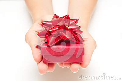 Woman hands with present