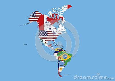 North, Middle and South America Flags Map Names