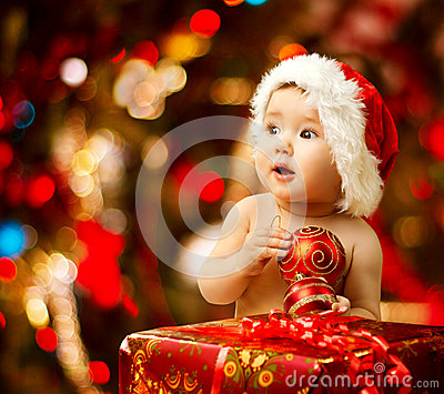 Christmas Baby in Santa Hat, Red Present Gift Box