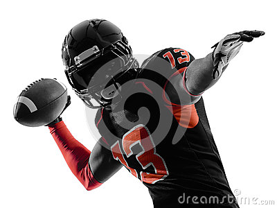 American football player quarterback passing portrait silhouette