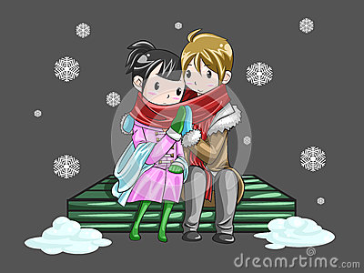 Cute couple sharing their warmth in romantic winte