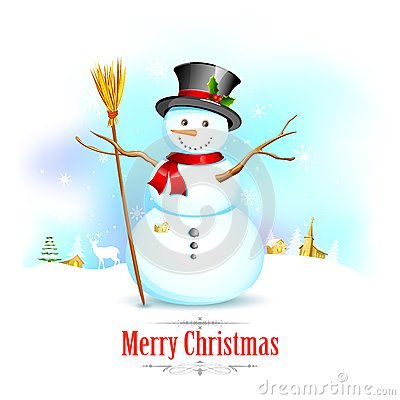 Snowman with broom in Christmas Background