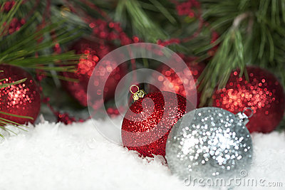 Red Sparkly Christmas Ornaments