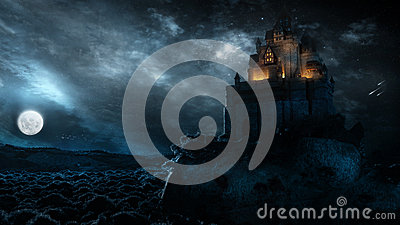 stock image of castle in the night