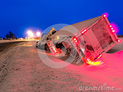 Transport Truck in Winter Ditch Evening