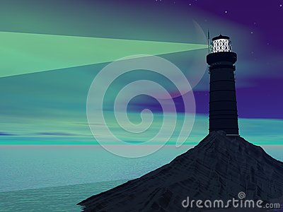 Lighthouse by night - 3D render