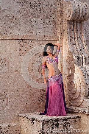 Belly Dancer in Pink Costume