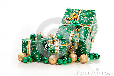 Gift boxes and christmas balls,Isolated on white