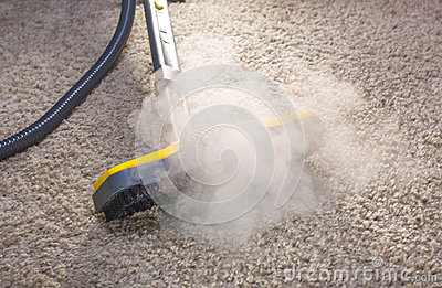 Dry steam cleaner in action.