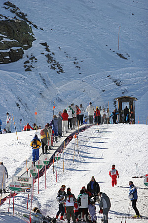 Looking up the ski slopes of the Sierra Nevada mountains in Spain