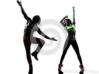 Couple man and woman exercising fitness zumba dancing silhouette