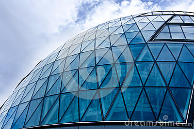Blue glass domed building