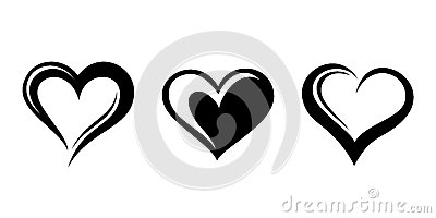 Black silhouettes of hearts.